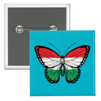 Hungarian Butterfly Flag 15 Cm Square Badge