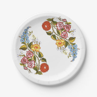 Hungarian Floral 7 Inch Paper Plate
