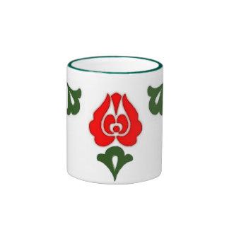 Hungarian floral motifs -Red tulips Ringer Mug