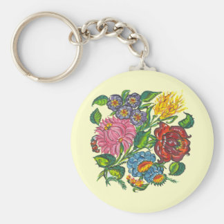 hungarian flowers basic round button key ring