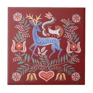 Hungarian Folk Art Ceramic Tile
