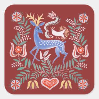 Hungarian Folk Art Square Sticker