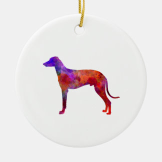 Hungarian Greyhound in watercolor Round Ceramic Decoration