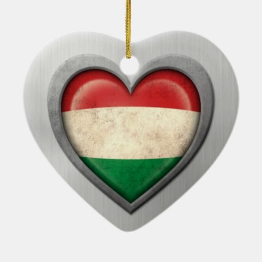 Hungarian Heart Flag Stainless Steel Effect Christmas Tree Ornaments