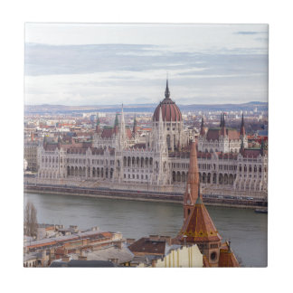 Hungarian Parliament Budapest by day Ceramic Tile