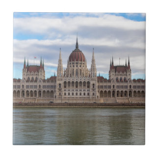Hungarian Parliament Budapest by day Small Square Tile