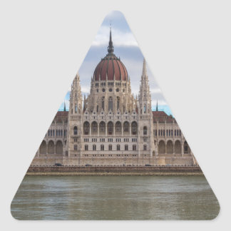Hungarian Parliament Budapest by day Triangle Sticker