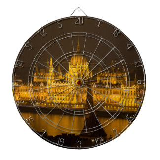 Hungarian Parliament Budapest by night Dartboard
