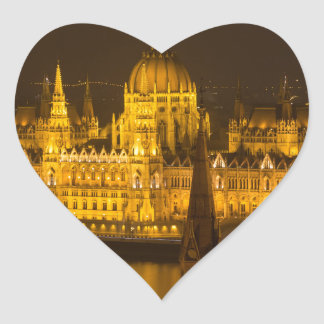 Hungarian Parliament Budapest by night Heart Sticker