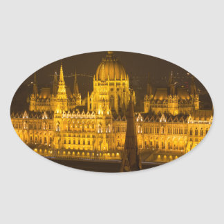 Hungarian Parliament Budapest by night Oval Sticker