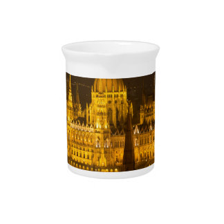 Hungarian Parliament Budapest by night Pitcher