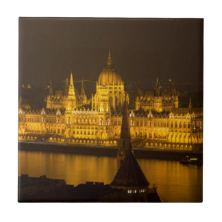 Hungarian Parliament Budapest by night Small Square Tile