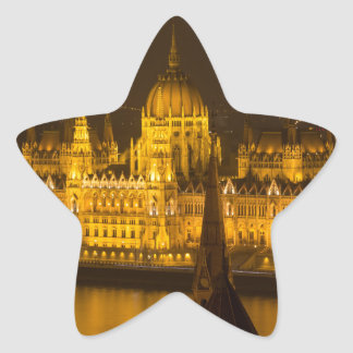 Hungarian Parliament Budapest by night Star Sticker