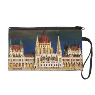Hungarian Parliament Building in Budapest, Hungary Wristlet Clutches