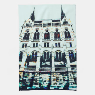 Hungarian Parliament painting Tea Towel