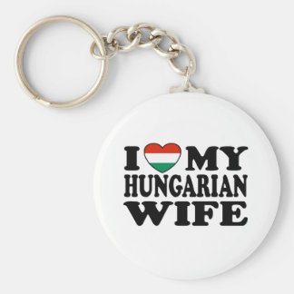 Hungarian Wife Basic Round Button Key Ring