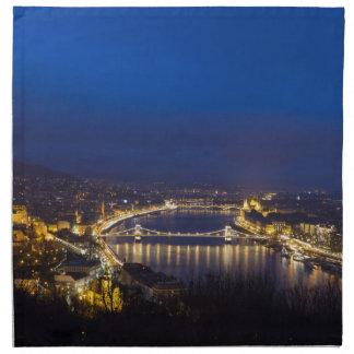 Hungary Budapest at night panorama Napkin