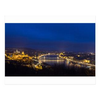 Hungary Budapest at night panorama Postcard
