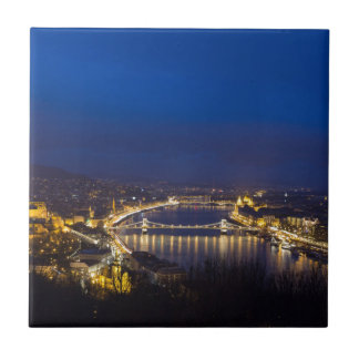 Hungary Budapest at night panorama Small Square Tile