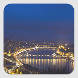 Hungary Budapest at night panorama Square Sticker