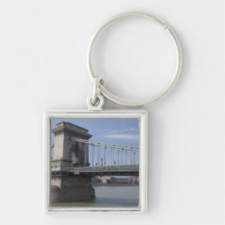 Hungary, capital city of Budapest. Historic Silver-Colored Square Key Ring