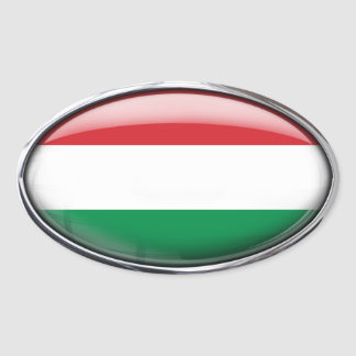 Hungary Flag in Glass Oval (pack of 4) Oval Sticker