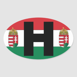 Hungary Flag Oval Oval Sticker