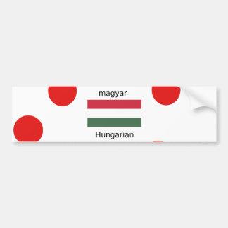 Hungary Language And Flag Design Bumper Sticker