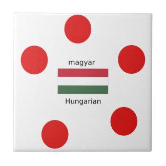 Hungary Language And Flag Design Ceramic Tile