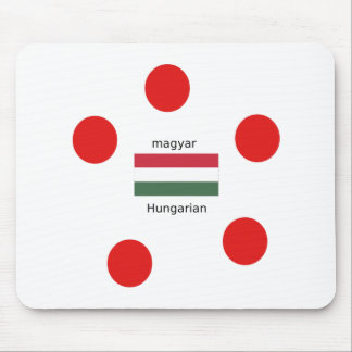 Hungary Language And Flag Design Mouse Pad