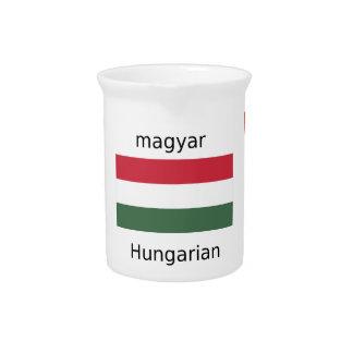 Hungary Language And Flag Design Pitcher