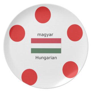 Hungary Language And Flag Design Plate