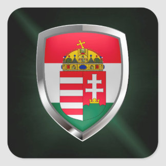 Hungary Metallic Emblem Square Sticker