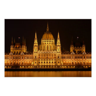 Hungary Parliament building at night Poster