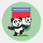 Hungary Soccer Panda Round Sticker