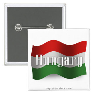 Hungary Waving Flag 15 Cm Square Badge