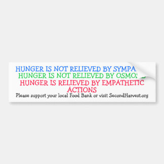 HUNGER IS NOT RELIEVED BY SYMPATHY BUMPER STICKER