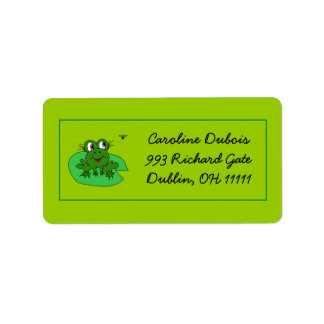 Hungry Girl Frog with Fly Green Custom Address Lab Address Label