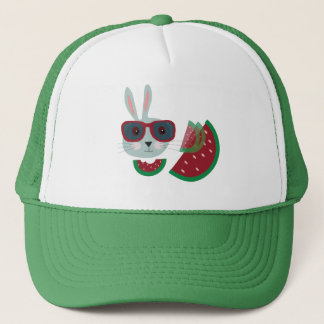 Hungry hipster bunny trucker hat