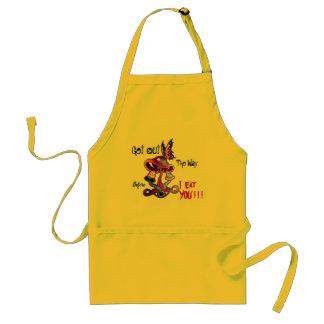 Hungry Mushroom crowded kitchen apron