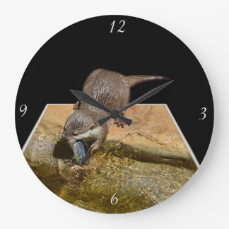 Hungry Otter Eating Fish, Large Round Wall Clock. Large Clock