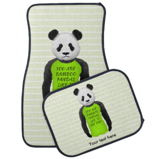 Hungry Panda Wearing A Funny Tshirt Floor Mat