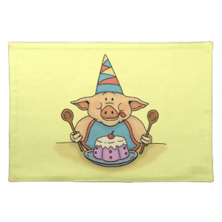 hungry piggy happy birthday placemat
