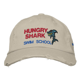 Hungry Shark Swim school Embroidered Baseball Caps