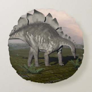 Hungry stegosaurus - 3D render Round Cushion