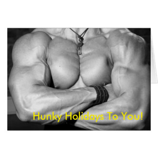 Hunky Holidays Card - Male Flexed Chest
