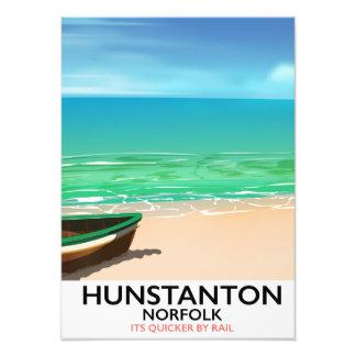 Hunstanton Norfolk Beach travel poster Photographic Print