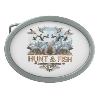 Hunt and fish oval belt buckle