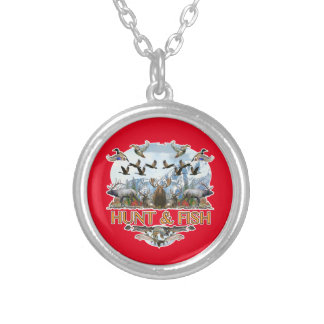 Hunt and fish silver plated necklace