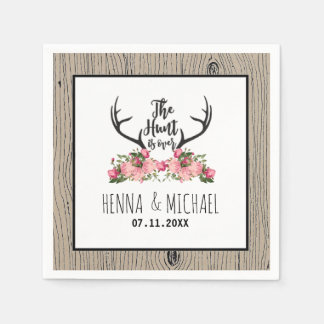 Hunt is Over Rustic Antler Barnwood Floral Wedding Paper Serviettes